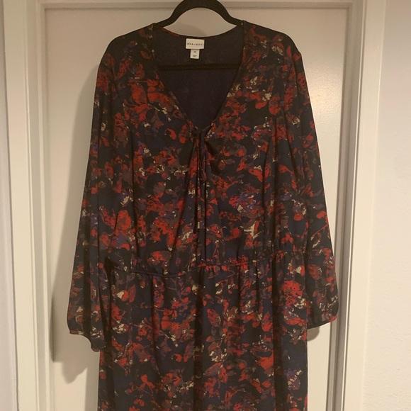 Women/'s Black Floral Dress 2X /& 3X NEW Plus Size by Ava /& Viv Elastic Waist